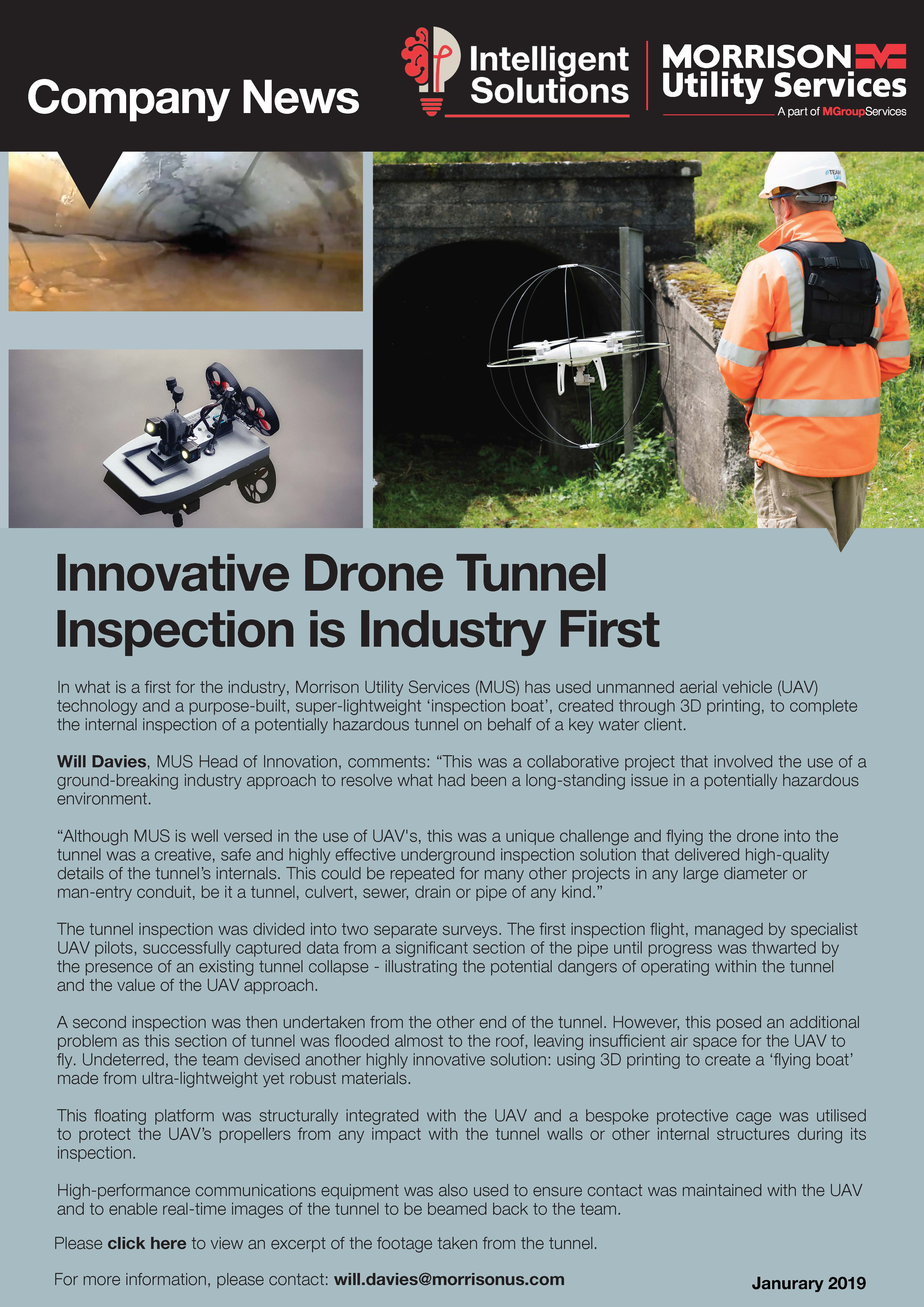 Innovative Drone Tunnel Inspection is Industry First